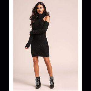 Black off shoulder turtleneck sweater dress S